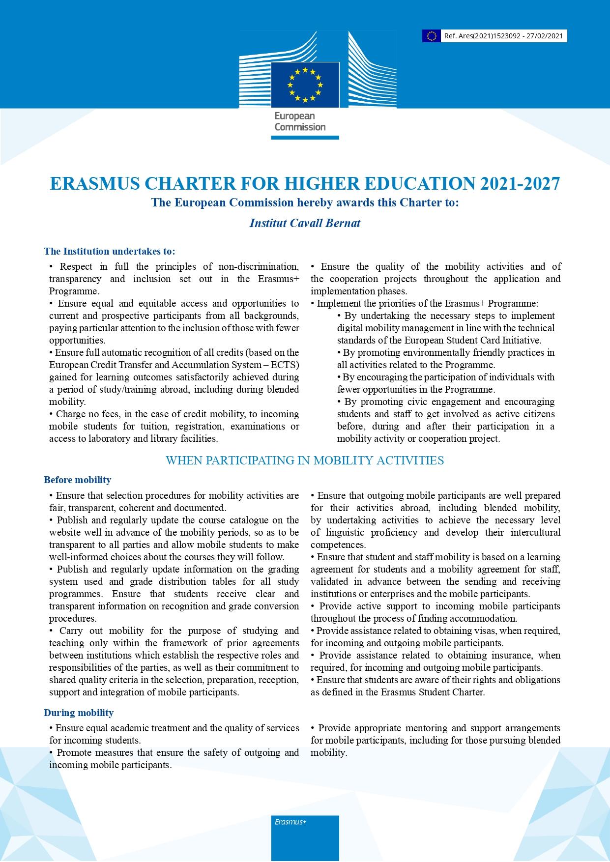 Erasmus Charter ehtv 2021